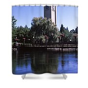 Clock Tower At Riverfront Park Shower Curtain