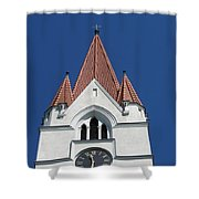 Clock Tower. Evangelic Lutheran Church. Silute. Lithuania. Shower Curtain