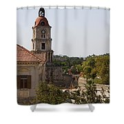 Clock Tower - Rhodos City - Roloi Shower Curtain