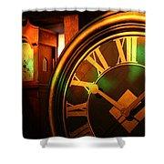 Clocks Shower Curtain by William Selander
