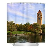Clocktower And Autumn Colors Shower Curtain