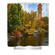 Clocktower In Fall Shower Curtain