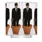 Clones Of Man In Business Suit Standing Shower Curtain by Darren Greenwood