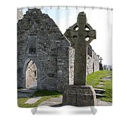 Clonmacnoise Cathedral  And High Cross Ireland Shower Curtain