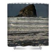 Close Haystack Rock Shower Curtain