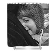 Close To My Daddy Monochrome Shower Curtain