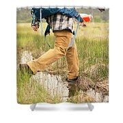 Close-up Of A Male Hiker Shower Curtain