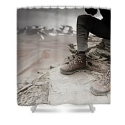 Close Up Of A Mountaineers Windblown Shower Curtain