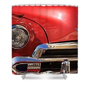 Close Up Of A Red Chevrolet Shower Curtain