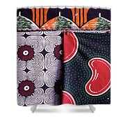 Close Up Of Colorful Khangas For Sale Shower Curtain
