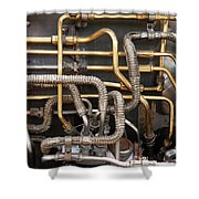 Close-up Of Tangled Pipes Shower Curtain
