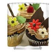 Close-up Of Three Chocolate Cupcakes Shower Curtain