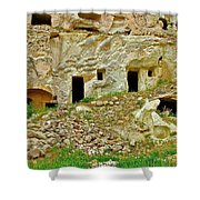 Close-up Of Tufa-carved Homes In Cappadocia-turkey Shower Curtain