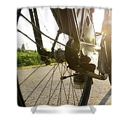 Close Up Of Wheel Of Bicycle On Road Shower Curtain