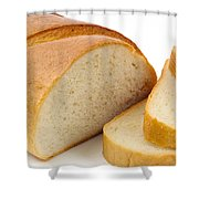 Close-up Of White Bread With Slices Shower Curtain