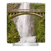 Close Up View Of Multnomah Falls In The Columbia River Gorge Of Oregon Shower Curtain