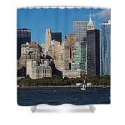 Close View Of Downtown Manhattan Eastern Skyline Shower Curtain