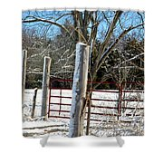 Closed Gate In Winter  Shower Curtain