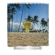 Closed Lifeguard Shack On A Deserted Tropical Beach With Palm Tr Shower Curtain
