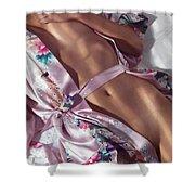 Closeup Of Beautiful Nude Asian Woman Body In Pink Kimono Shower Curtain