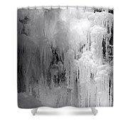 Closeup Of Icy Waterfall - Black And White Shower Curtain