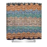 Closeup Of Old Rag Rug Shower Curtain