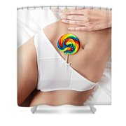 Closeup Of Sexy Woman Body With A Lollipop In Her Underwear Shower Curtain