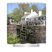 Closing A Lock On The C And O Canal At Great Falls Tavern Shower Curtain