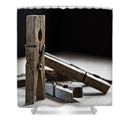 Clothespins Shower Curtain by Edward Fielding