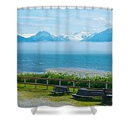 Cloud Bank At Low Tide In Homer-ak Shower Curtain