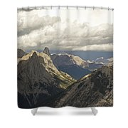 Cloud Over Rugged Mountain Peaks Banff Shower Curtain