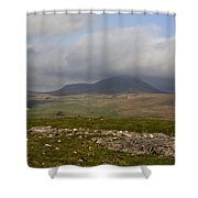 Cloud Streaming Across The Summit Of Pen-y-ghent Ribblesdale North Yorkshire England Shower Curtain