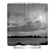 Cloud To Cloud Lake Lightning Strike In Bw Shower Curtain