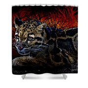 Clouded Leopard Two Shower Curtain