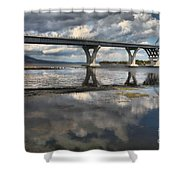 Clouds And Reflections Over Lake Champlain Shower Curtain