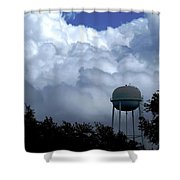 Clouds Around The Water Tower Shower Curtain