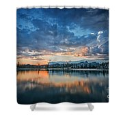 Clouds At Lower Sunset Lake Shower Curtain