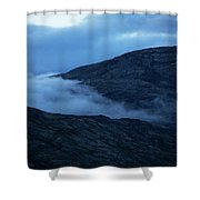 Clouds Cover The Mountains Of The Ice Shower Curtain