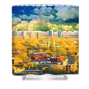 Clouds In The City Shower Curtain