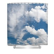 White Cirrus And Cumulus Clouds Formation Mix Shower Curtain