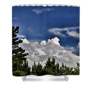 Clouds Like Mountains Behind The Pines Shower Curtain