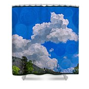 Clouds Loving A Friendly Mountain Landscape Painting Shower Curtain