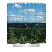 Clouds Mountains And Trees Shower Curtain