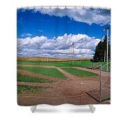 Clouds Over A Baseball Field, Field Shower Curtain