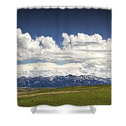 Clouds Over A Mountain Range In Montana Shower Curtain