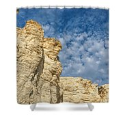 Clouds Over Chalk Pyramids Shower Curtain