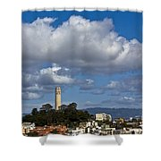 Clouds Over Coit Tower Shower Curtain