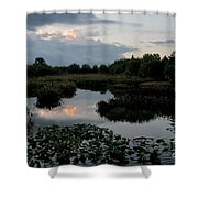Clouds Over Green Cay Wetlands Shower Curtain by Mark Newman