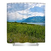 Clouds Over Jackson Lake In Grand Teton National Park-wyoming Shower Curtain