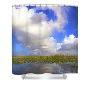 Clouds Over The Grasses Shower Curtain